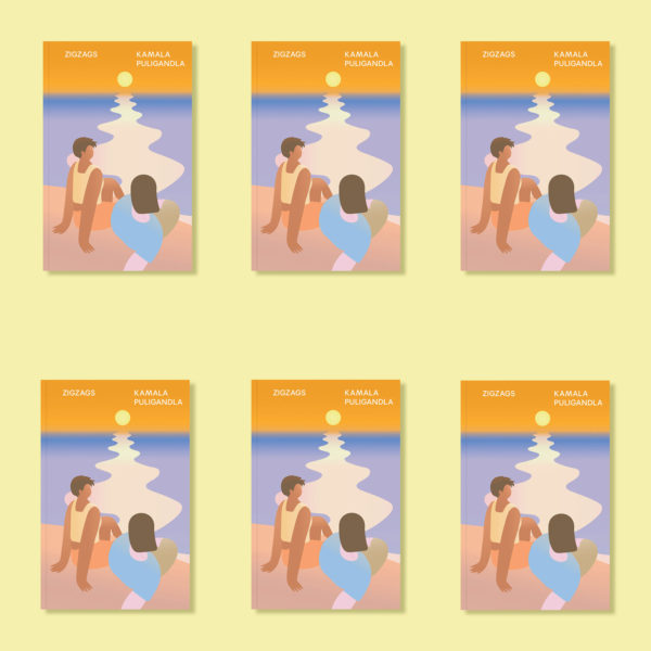 Panel showing six identical images of the cover of the novel ZIGZAGS by Kamala Puligandla